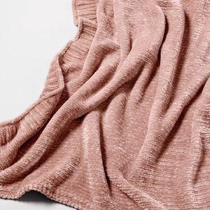 Blush chenille throw blanket